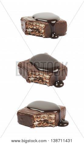 Chocolate waffle candy bar, bitten and coated with the hot chocolate, composition isolated over the white background, set of three different foreshortenings