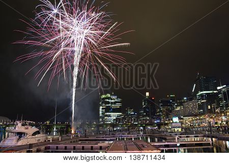 16 July 2016: Darling Harbour Sydney AUSTRALIA: 8.30pm fireworks display marking the end of the Cool Yule Festival a Southern Hemisphere winter festival