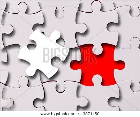 abstract puzzle background with one piece missing