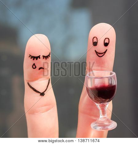 Finger art of couple. Woman is upset because man drunk.