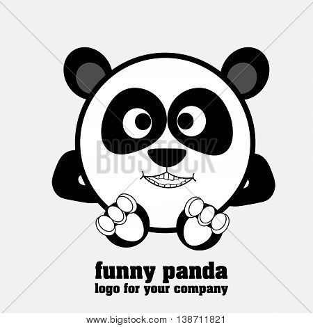 Funny panda logotype Round as a ball panda as a logo for business and design