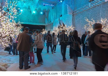 16 July 2016: Darling Harbour Sydney AUSTRALIA: people visiting the enchanted forest display at the Cool Yule Festival