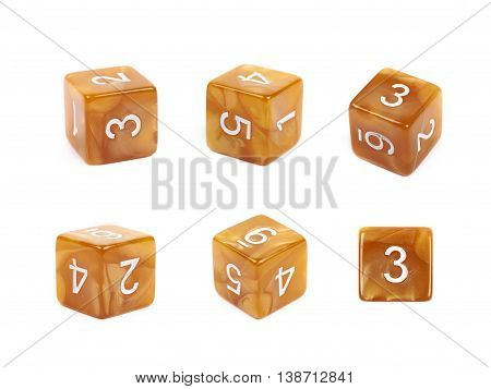Roleplaying orange polyhedral gaming plastic dice cube isolated over the white background, set of six different foreshortenings