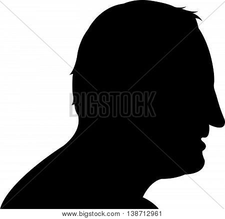 a man head black color silhouette vector