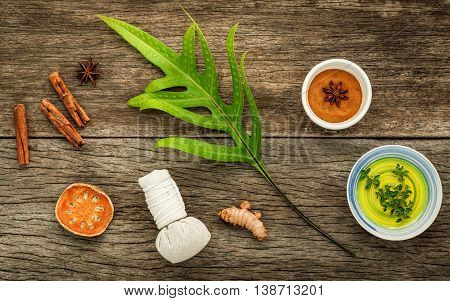 Branch Of Fern Leaves With Nature Spa Ingredients Dried Indian Bael ,herbal Compress Ball,turmeric,c