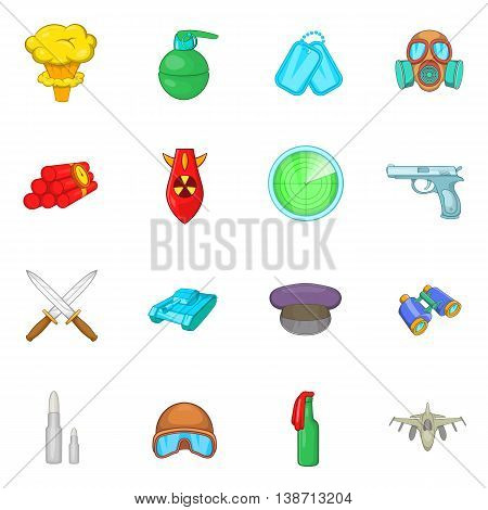 War icons in cartoon style. Gun set collection isolated vector illustration