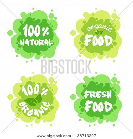Four stickers for environmentally friendly products. Vector illustration isolated on a white background.