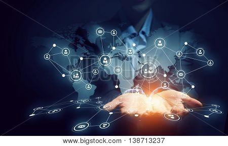 Social networking scheme . Mixed media