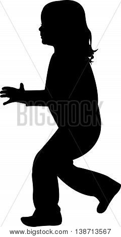 girl playing, black color silhouette vector artwork