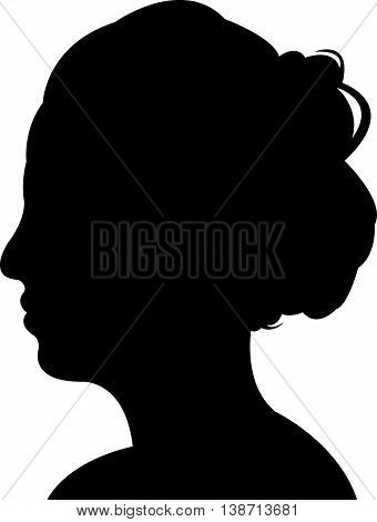 a woman head black color silhouette vector