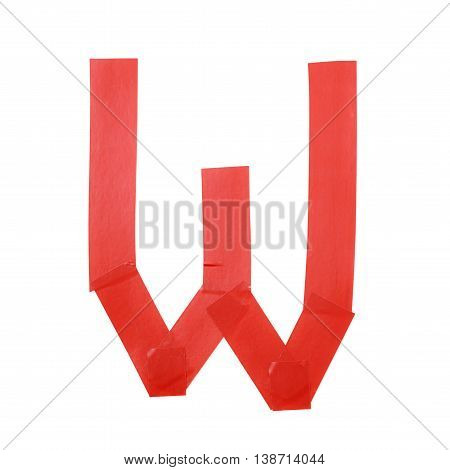 Letter W symbol made of insulating tape pieces, isolated over the white background