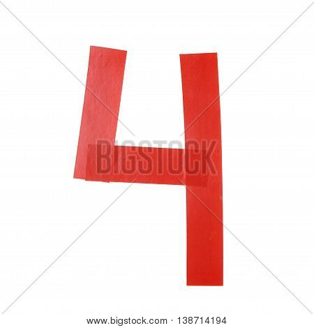 Number four symbol made of insulating tape isolated over the white background