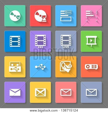 Set of flat square icons on gray background