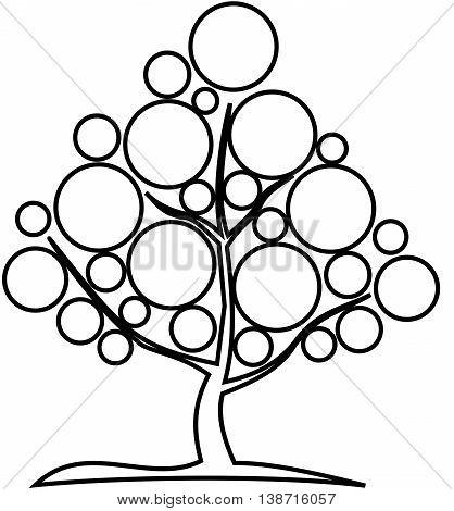 deciduous tree ,  contour deciduous tree , deciduous tree illustration ,