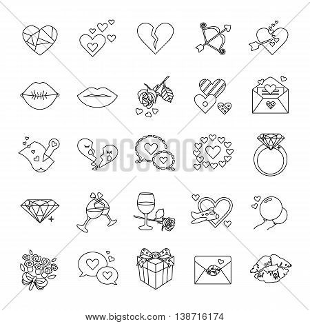 Romance of outlines vector icons collection set
