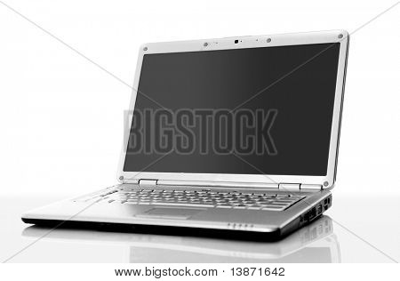 Portátil profesional aislado sobre fondo blanco con espacio vacío