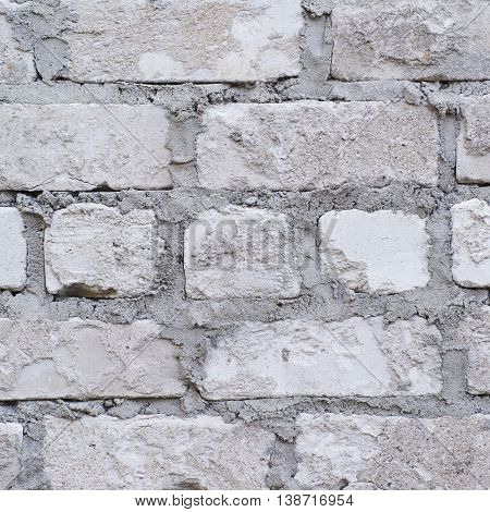 Close-up fragment of an old brick wall as a background texture composition