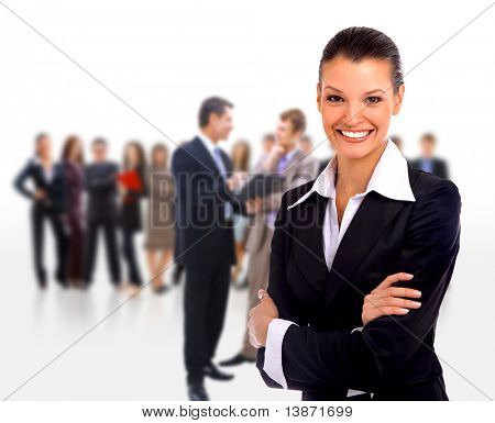 Feminino pé de líder de negócios na frente de sua equipe