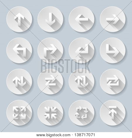 Set of flat round icons with straight arrows