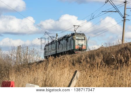 St. Petersburg, Russia - 7 April, The locomotive of the two sections of the railway, 7 April, 2016. Transport on rail locomotives and wagons with tanks.