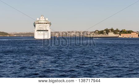 Sydney - February 25 2016: a huge sea liner Radiance of the seas came from Sydney harbor cruise and cityscape February 25 2016 Sydney Australia