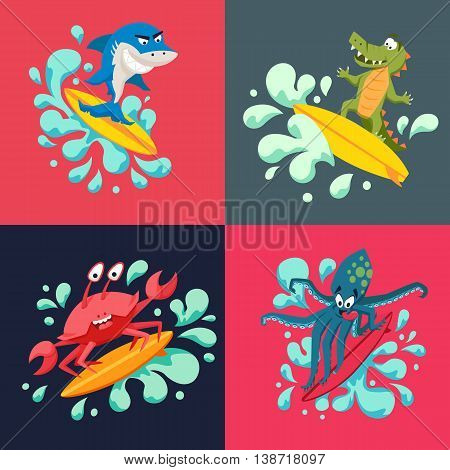 Surfer cool monsters on wave. Sirfing shark, octopus, crocodile, crab. Fun surf print with cute animals vector illustration. Comic sea character on surfboard. Water sports kid poster. Ride athletes
