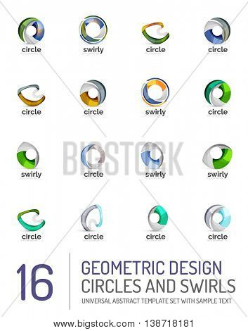 Geometric abstract circles and swirls icon set. symbols isolated on white