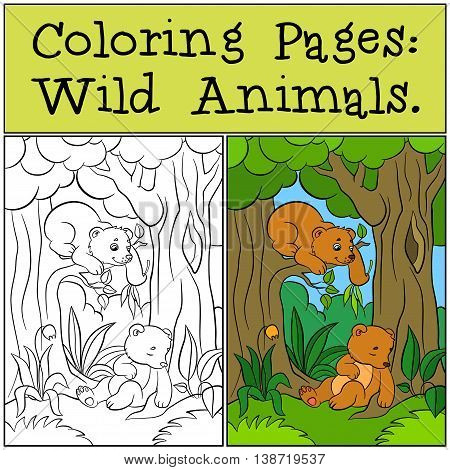 Coloring Pages: Wild Animals. Two Little Cute Baby Bears.