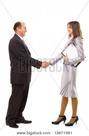 young man shaking hands with a woman against white background