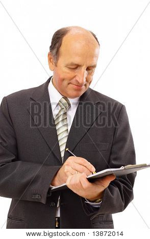 Businessman writing isolated over white background
