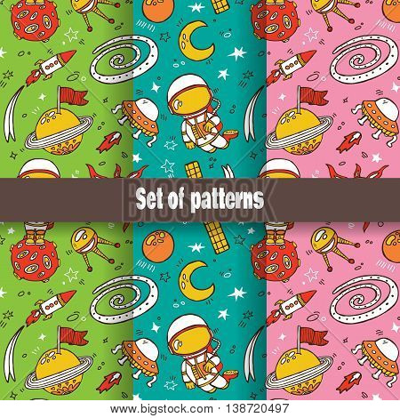 . Vector illustration set of doodle hand drawn seamless pattern with astronauts, planets, stars, spaceships for wallpapers, scrapbooking, web page backgrounds,textile