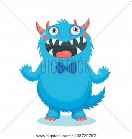 Cute Monster Vector. Cartoon Monster Mascot. Vector Illustration Funny Fantastic Animals. Cartoon Monster Face.