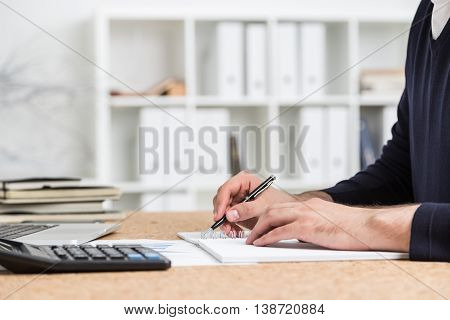 Accountant Doing Paperwork Side