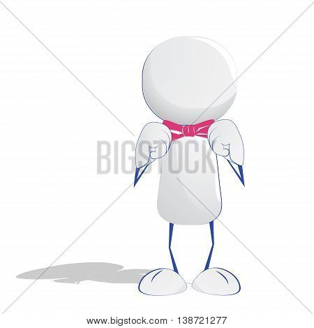 Abstract human icon knot his pink bow