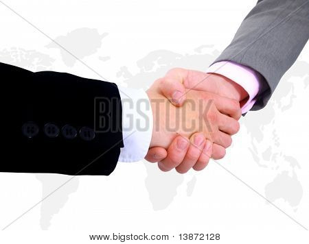 Handshake with map of the world in background