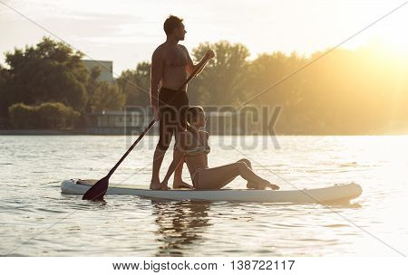 Beach Fun Couple On Stand Up Paddle Board Sup06