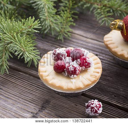 Home Tartu mini cakes with berry filling in the form of jam decorated with fresh cranberries in coconut chips meal for the winter holidays. selective focus