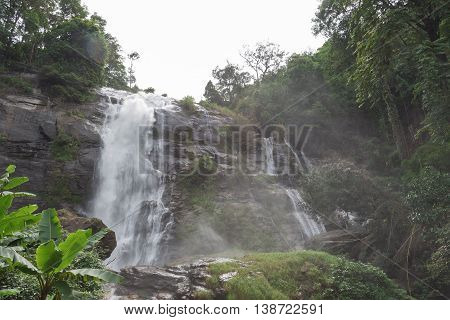 Wachirathan waterfall with water splash : The famous waterfall in Doi Inthanon national park Chiang maiThailand.