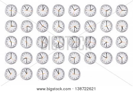 Round clocks shows the time from an hour to twelve