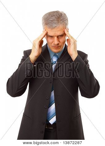 Business man in depression with hand on forehead, isolated over white