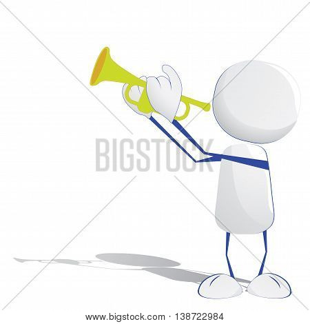 Abstract human icon playing musical instrument trumpet