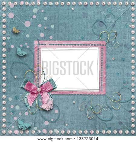 Old Vintage Photo Album With Beautiful Bows And Butterflies