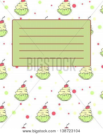 School notebook cover postcard invitation sample with hand drawn cupcakes