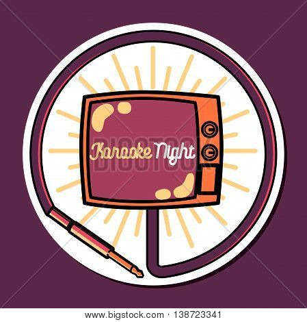 Color vintage karaoke emblems, label, badge and design elements. Karaoke club emblem. Vector illustration.