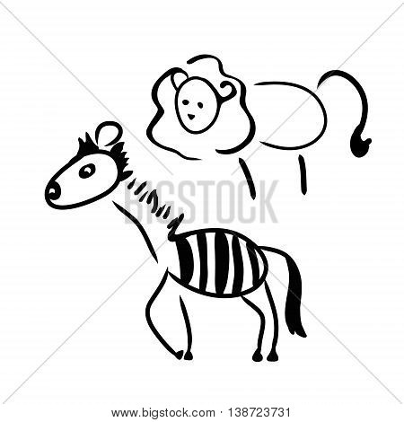Abstract image of African animals Zebra and lion on white background vector illustration