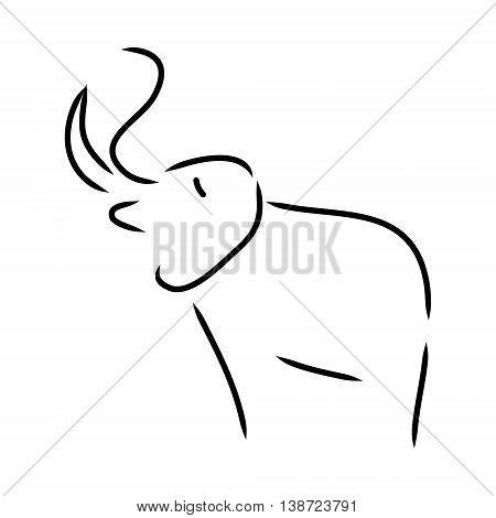 Graphic symbolic elephant of black lines on white background vector illustration