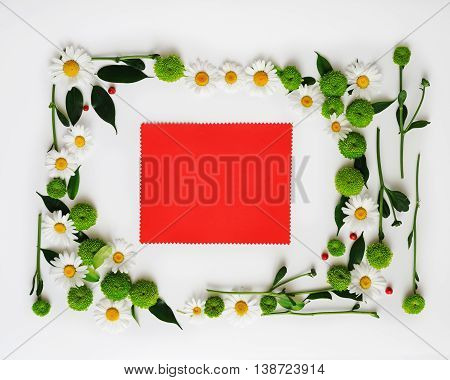 Red Paper With Wreath Frame From Flowers,