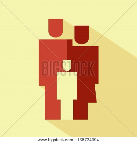 Vector flat family icon. Isolated with long shadow. Geometrical red parents symbol for your web site design logo app UI.