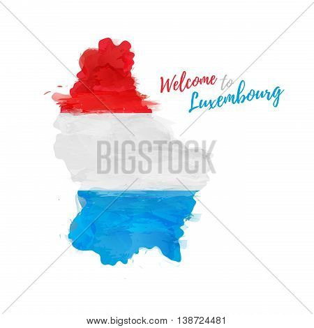 Symbol, poster, banner Luxembourg. Map of Luxembourg with the decoration of the national flag. Watercolor style drawing. Vector illustration