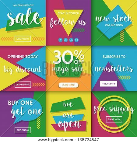 Modern website promotion and sale banners template for social media and mobile apps. Geometrical shapes colorful background design.